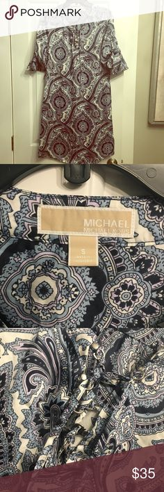 Michael Kors dress. Michael Kors blue paisley silky dress. Size S and in excellent condition. Comfortable longer length with a lace up detail on the chest. No trades. KORS Michael Kors Dresses