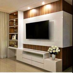 Living room tv wall decor tv shelf 19 new Ideas Tv Cabinet Design, Tv Wall Design, Tv Wanddekor, Living Room Tv Unit Designs, Tv Wall Unit Designs, Modern Tv Wall Units, Tv Wall Decor, Wall Tv, White Rooms
