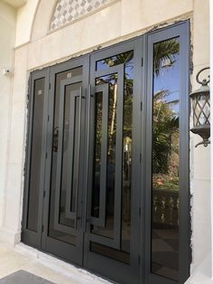 SIW Offers The Premier Hurricane Decorative Entry Doors in All South Florida. For The Best Hurricane Protection For Your Home Call Modern Entrance Door, Main Entrance Door Design, Modern Door, Entrance Doors, Double Doors Exterior, Iron Doors, Windows, Iron Gate Design, Iron Decor