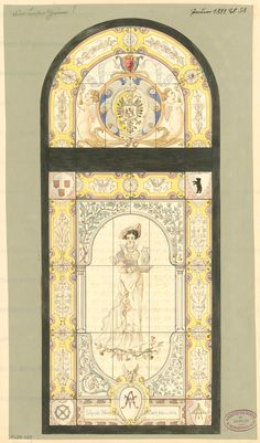 Design for a window in the House of Architects in Berlin. The design was submitted in 1881 by a now unknown architect. Courtesy of the the Technical University of Berlin's Museum of Architecture.    Original title: Fenster für das Haus des Architekten-Vereins zu Berlin. Monatskonkurrenz Januar 1881 (2. Wettbewerb)