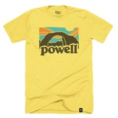 "Size Chart The Stately Type Lake Powell Vintage t-shirt represents a homage to the classic 70's era Patagonia tees. It features the word ""Powell"" hand-lettered over a hand-drawn illustration of Rainbo"