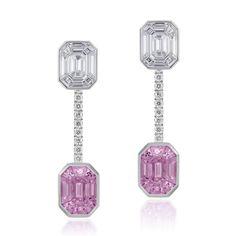Stenzhorn's Muse Pantoni pink sapphire and diamond earrings. http://www.thejewelleryeditor.com/jewellery/article/stenzhorn-muse-invisible-set-diamond-jewellery/ #jewelry