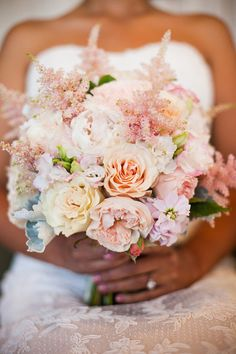 A pastel wedding bouquet of peachy, blush and neutral blooms. Mod Wedding, Floral Wedding, Wedding Flowers, Dream Wedding, Wedding Pastel, Pastel Weddings, Orange Weddings, Spring Weddings, Wedding Stage