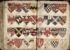 Double page including arms of Vavasour from a manuscript volume of pedigrees and coats of arms of Yorkshire families (1703-1721), part of the Bradfer-Lawrence Collection (MD335/13/1), previously the property of Ralph Thoresby, given to him by George Plaxton, rector of Barwick in Elmet.