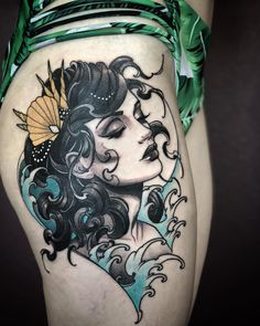 New post on tattinitup Pin Up Tattoos, Love Tattoos, Beautiful Tattoos, Body Art Tattoos, Tattoo Drawings, Tattoos For Women, Traditional Mermaid Tattoos, Traditional Tattoo Woman, See Tattoo