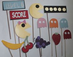 PAC MAN photo booth props Ol school video by flutterbugfrenzy, $25.75