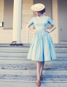 blue dress...straw hat...love it!