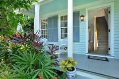Historic wooden houses are painted in pretty pastels spanning the colors of the rainbow. I never grow tired of touring the Old Town Key West homes, taking in the creative chroma that infuses the neighborhoods with imagination and energy. In this beautiful home, palettes of garden-green and Caribbean-blue take center stage so it claims the name, Casa Verde-Azure vacation rental.Casa Verde Azure   2 Bedroom Monthly Vacation Rental Key West Rentals, Cottage Names, Metal Sink, Hollywood Lights, West Home, Built In Bar, Victorian Cottage, Wooden Houses, Cottage Style Homes