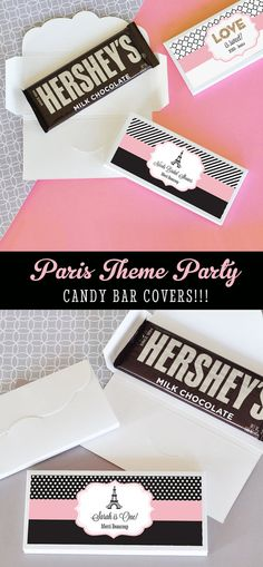 Paris Candy Bar Wrappers will add a sweetness to your eiffel tower paris themed Bridal Shower or 1st Birthday Party! by Mod Party