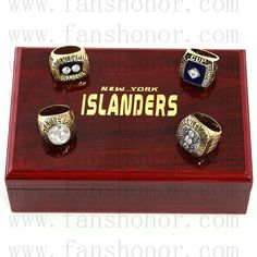 New York Islanders NHL Championship Rings Set Wooden Display Box Collections - Display Box Set