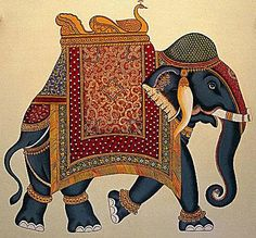 Indian elephant from The Oberoi Udaivilas, Udaipur, India. SOURCE: Oberoi Hotels and Resorts. Mughal Paintings, Indian Art Paintings, Madhubani Painting, Indian Traditional Paintings, Traditional Art, Indian Elephant Art, Indiana, Phad Painting, Elefante Hindu