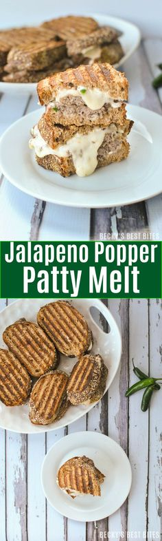 #ad Jalapeño Popper Patty Melt feature jalapeños, cream cheese, greek yogurt, parmesan cheese, whole grain bread, beef & melty cheese for a quick lunch or dinner recipe that guys on the go can enjoy! | beckysbestbites.com #BPPatties