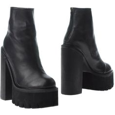 Jeffrey Campbell Ankle Boots ($228) ❤ liked on Polyvore featuring shoes, boots, ankle booties, black, black leather ankle booties, black leather booties, black leather bootie, short boots and leather booties