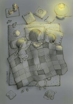 엄마가 읽어주는 동화책에 귀를 기울이다가 눈이 살짝 감길때쯤.. '엄마 엄마, 내 얼굴 봐요. 이 쪽으로 자요.' '아니야, 엄마는 나랑 보고 자야돼!' 한밤중에 시작된 엄마 쟁탈(?)전. Almost falling asleep when mom reads a book in bed.. 'Mommy, Mommy, please look at me, you need to sleep in this side.' 'No, Mommy has to sleep with my side!' A small battle starts in the middle of night.