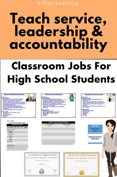 Classroom jobs are a great way to teach your students leadership, accountability, and responsibility.These classroom jobs for high school students include 9 jobs. Classroom Jobs, Classroom Organization, Classroom Management, School Resources, Classroom Resources, Teacher Resources, School Stuff, Back To School, Teaching Posts
