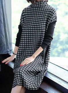 High Neck Patchwork Houndstooth Shift Dress Find latest women's clothing, dresses, tops, outerwear, and other fashion clothing and enjoy the worldwide shipping # Cute Sweater Outfits, Urban Fashion, Womens Fashion, Affordable Dresses, Dress Silhouette, Buy Dress, Women's Fashion Dresses, Beautiful Outfits, Trendy Outfits