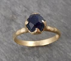 Montana Blue Sapphire Partially Faceted Solitaire Yellow Gold Engagement Ring Wedding Ring Custom One Of a Kind blue Gemstone Ring 1686 Morganite Engagement, Rose Gold Engagement Ring, Vintage Engagement Rings, Emerald Ring Gold, Custom Wedding Rings, Ring Verlobung, White Gold Rings, Gemstone Rings, Blue Sapphire