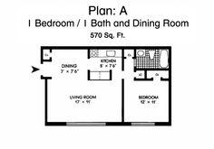 Morningside Gardens One Bedroom Apartment Floor Plan - 1 Bed, 1 ...