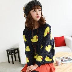 Fuzzy Knit Duck Print Sweater from #YesStyle <3 59 Seconds YesStyle.com