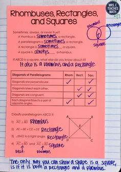 rhombus, rectangle, and square practice sheet for geometry interactive notebooks