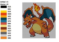 I worked with this pattern to make my Charizard. On the left you can see the matching Artkal and Hama colors. Glurak Bead Pattern Perler Artkal Hama Nabbi Pokemon Nintendo Unpixable
