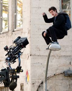 andrew garfield filming for the amazing spiderman