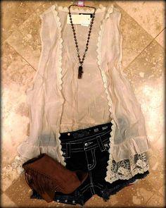 Beige Vintage Lace Vest