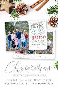 Spread some holiday cheer this season with a festive Christmas Card Template. Your family photos will look perfect in this 5x7 Christmas card. You can quickly and easily edit your card online in your web browser, then download and print right away! Choose from a Year in Review or just photos for the back! Both options included! Demo Now! #ChristmasCards #ChristmasCardIdeas #ChristmasTemplate #ChristmasCard #HolidayPhotoCard Christmas Photo Card Template, Christmas Templates, Christmas Photo Cards, Holiday Cards, Merry Happy, Merry Christmas And Happy New Year, Heart Designs, Place Card Holders, Web Browser
