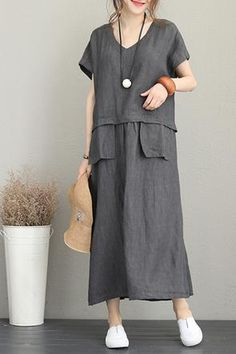 Vintage Loose Maxi Dresses Women Linen Clothes Fabric: Fabric has no stretchSeason: SummerType: Dress Sleeve Length: Short Color: Gray,Red Material: LinenDresses Length: Maxi Style: Casual Neck Type: V neck Silhouette: Loose One Size // Nikola Sen Women's Fashion Dresses, Casual Dresses, Maxi Dresses, Maxi Skirts, Fashion Clothes, Diy Clothes, Clothes For Women, Womens Linen Clothing, Short Beach Dresses