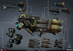 Lowtech Rocket Launcher – Defiance This is the lowtech rocket launcher I made for Defiance. Lots of attachments were made for upgrades. Modeled in maya, textured in photoshop, rendered in Marmoset. - Artwork by Satoshi Arakawa