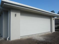 surfmist garage door with dulux beige royal render white windows, surfmist gutters and fascia and monier elabana barramundi roof tiles Exterior Color Schemes, Grey Exterior, House Color Schemes, Exterior House Colors, Exterior Paint, Exterior Design, Outside House Colors, Farm House Colors, Cement Render