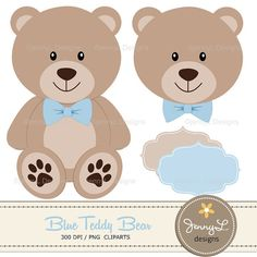 Blue Teddy Bear Digital papers Teddy Bear by JennyLDesignsShop