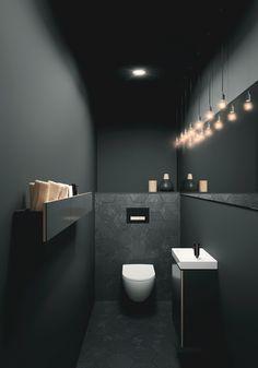 Toiletruimte met toilet en badkameubel van Sphinx # b… Toilet room with toilet and bathroom furniture from Sphinx # bathroom furniture Small Toilet Room, Guest Toilet, Toilet Wall, New Toilet, Bathroom Inspiration, Bathroom Ideas, Bathroom Designs, Cloakroom Ideas, Restroom Ideas