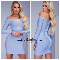 Elegant, Light Blue Bandage Dress with long sleeves perfect for a girls night out!