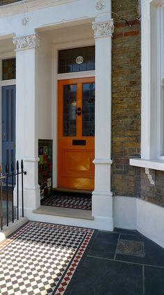 wrought iron rail and gate yellow stock brick wall victorian mosaic yorkstone westminster soho london