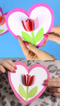 Tulip in a Heart Card - Mother's Day Craft for Kids - crafts for kids Kids Crafts, Mothers Day Crafts For Kids, Valentine Crafts For Kids, Preschool Crafts, Easter Crafts, Holiday Crafts, Diy And Crafts, Arts And Crafts, Card Crafts