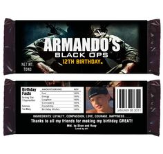 call of duty birthday party | Call of Duty Black Ops Birthday Party Candy Wrappers | eBay