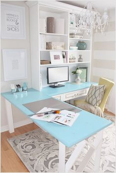 An L Shaped Colored Top Table with a Bookcase Above Offering Ample Storage