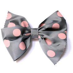 Lazo para el pelo de tafeta estampado gris con topos grandes rosas.