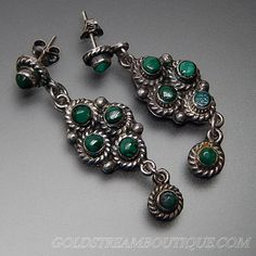 VINTAGE TAXCO MEXICO MALACHITE TWISTED ROPE DANGLE ELONGATED STERLING EARRINGS – Gold Stream Boutique