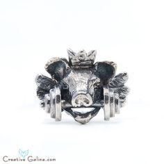 Royal Pig Ring by Ers creative for Creative Galina & Co only. www.dumbbelljewelry.com collectable