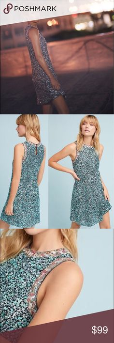 4222a8f409a0 😍😍Amazing Anthropologie astronomy swing dress Size 2. Sequined and  stunning embroidery makes this