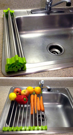 Cool Kitchen Gadgets - Stainless steel over the sink drying rack - rolls up for easy storage, great for rinsing vegetables or drying extra dishes! Cool Kitchen Gadgets, Home Gadgets, Gadgets And Gizmos, Cool Kitchens, White Kitchens, Kitchen Inventions, Clever Gadgets, Baby Gadgets, Camping Gadgets