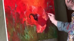 Paint poppies.Very ease oil painting. Russian Bob Ross. Full video tutor...