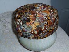 Vintage Pillbox Hat with Pheasant Feathers Peachbloom Velour Union Made Medium #lynnestreasures #teamsellit