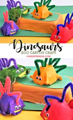 Egg Carton Dinosaurs Craft #kids #dinosaurs #kidcrafts #animalcrafts
