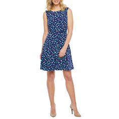 Liz Claiborne Sleeveless Dots Fit & Flare Dress Fit Flare Dress, Fit And Flare, Liz Claiborne, Spandex Fabric, Sleeve Styles, Summer Dresses, Sleeves, Clothes, Dots