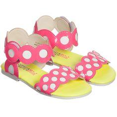 Girls 'Yoyo Pink' Dot Leather Sandal, Sophia Webster, Girl