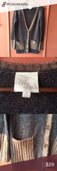 """Olive & Oak long cardigan Long grey and brown cardigan with 2 front pockets and five buttons to close • length 25"""" bust 19""""• 61% acrylic 25% polyester 7%wool 6% mohair 1% spandex Olive & Oak Sweaters Cardigans"""