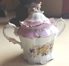 Early RS Prussia Sugar Bowl, Pink/White, Yellow/Purple Flowers
